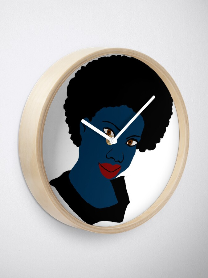 Alternate view of Beautiful Love Your Afro Black Brown Eyes Red Lips Clock