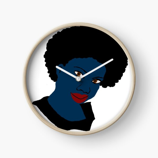 Beautiful Love Your Afro Black Brown Eyes Red Lips Clock