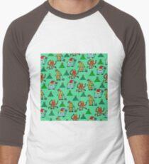happy new year monsters pattern Men's Baseball ¾ T-Shirt