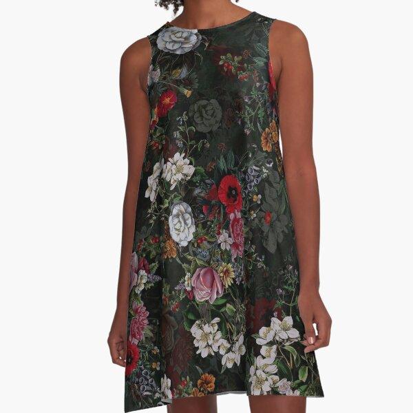Botanical Flowers IV Dark  A-Line Dress