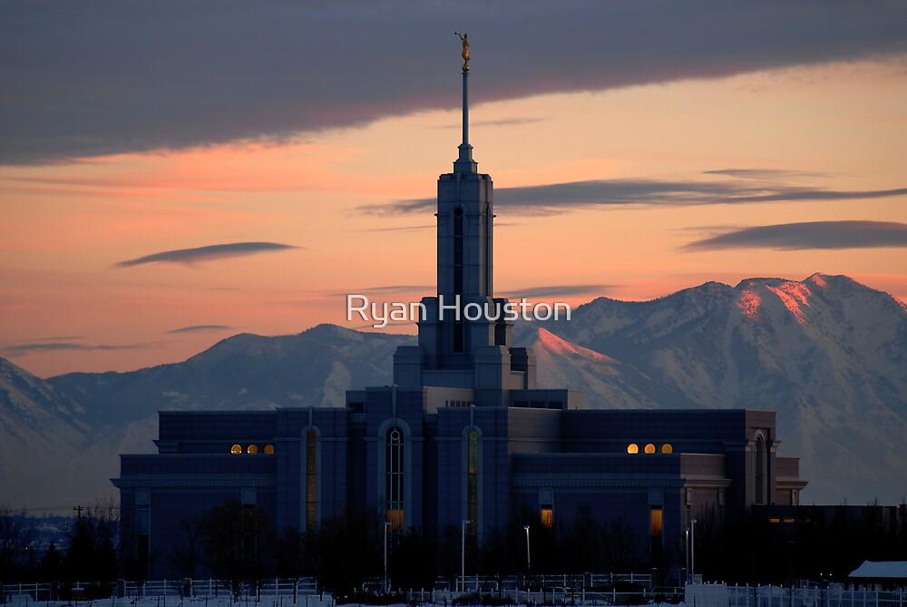 Mount Timpanogos Temple - Winter Sunset by Ryan Houston