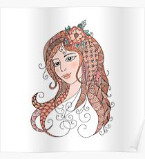 Portrait of a beautiful girl in zentangle style Poster