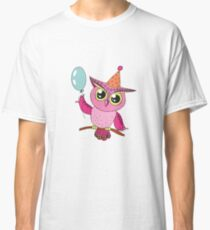 Cute colorful cartoon owl with blue balloon Classic T-Shirt