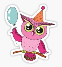 Cute colorful cartoon owl with blue balloon Sticker