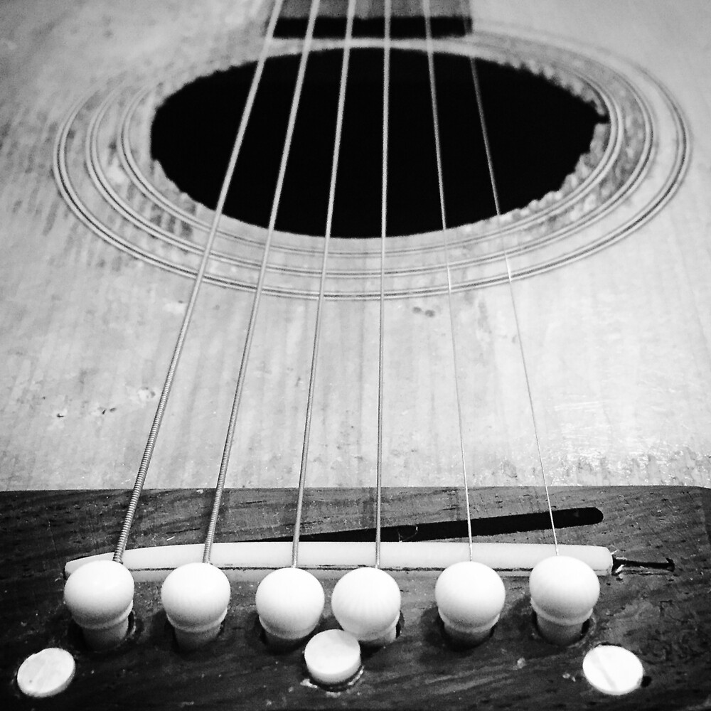 Acoustic Guitar~Black & White by Jacqueline Cooper