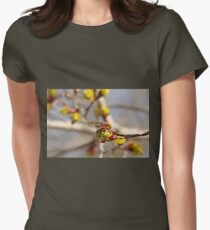Red Admiral On Maple Bud Womens Fitted T-Shirt