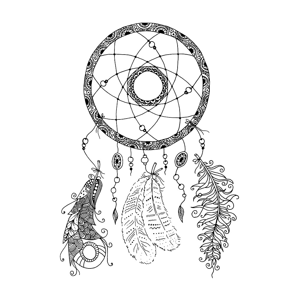 Beautiful dreamcatcher with beads and feathers in zentangle style by MayyaIva