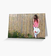 Lonely 12 year old with white hat Greeting Card