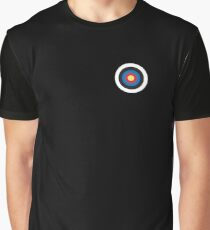 Bulls eye, on Breast, Red, White, Blue, Roundel, Target, SMALL ON BLACK Graphic T-Shirt