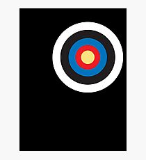 Bulls eye, on Breast, Red, White, Blue, Roundel, Target, SMALL ON BLACK Photographic Print