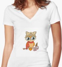 Cute colorful owl in cap sitting on rowan tree Women's Fitted V-Neck T-Shirt