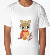 Cute colorful owl in cap sitting on rowan tree Long T-Shirt