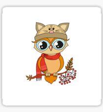 Cute colorful owl in cap sitting on rowan tree Sticker
