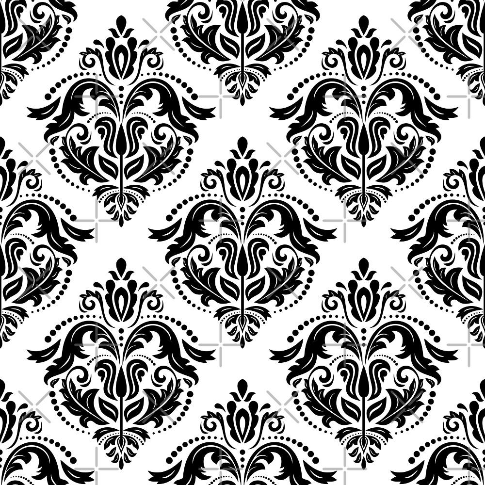 Black On White Elegant Floral Damasks Geometric Pattern by artonwear