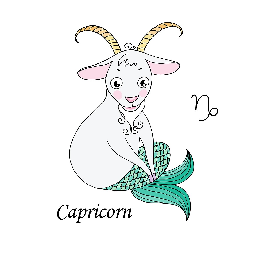 Capricorn zodiac sign in cartoon style by MayyaIva