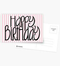 Happy Birthday Pink Stripes Postcards