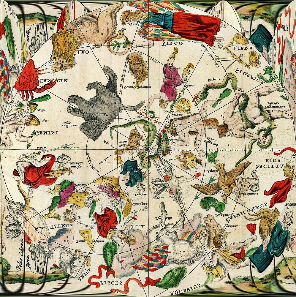 Vintage Astrology Star Map by Go-Postal