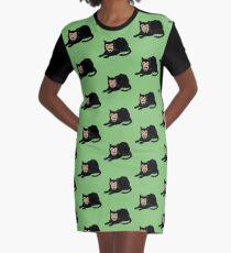 Vlad the Cat (Green) Graphic T-Shirt Dress