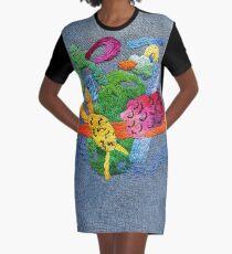 abstrakte Stickerei T-Shirt Kleid