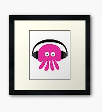Pink Jellyfish with Headphones Framed Print
