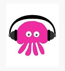 Pink Jellyfish with Headphones Photographic Print