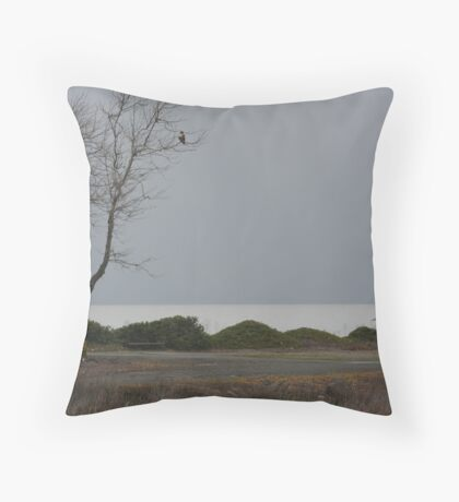 Hawk in tree Throw Pillow