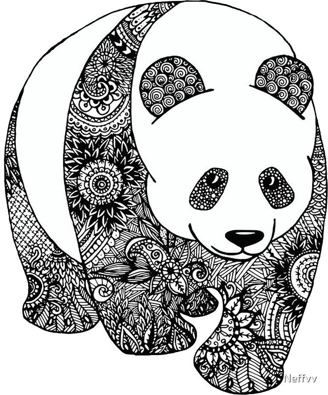 Pegatinas panda mandala de neffvv redbubble - Coloriage panda roux mandala ...