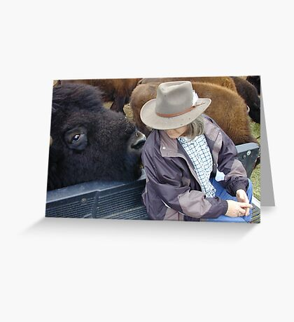 Rancher and her bull bison Greeting Card