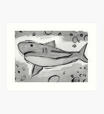 sketchy ink wash shark Art Print