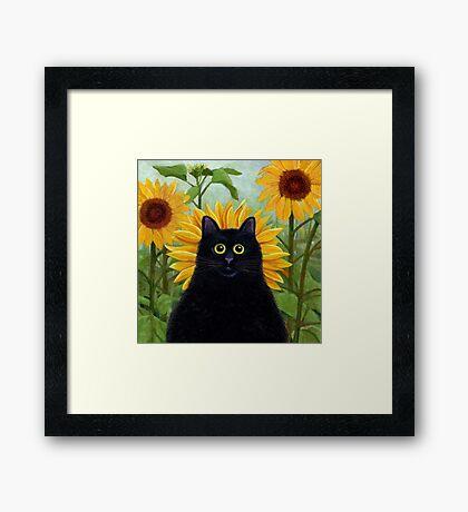 Dan de Lion with Sunflowers Framed Print