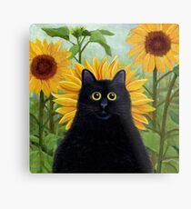 Dan de Lion with Sunflowers Metal Print