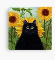 Dan de Lion with Sunflowers Canvas Print