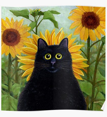 Dan de Lion with Sunflowers Poster