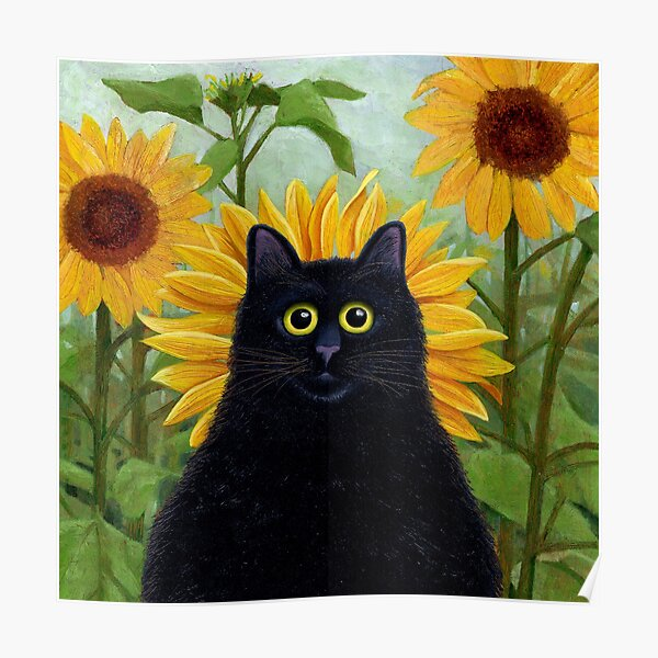 Dan de Lion with Sunflowers Poster