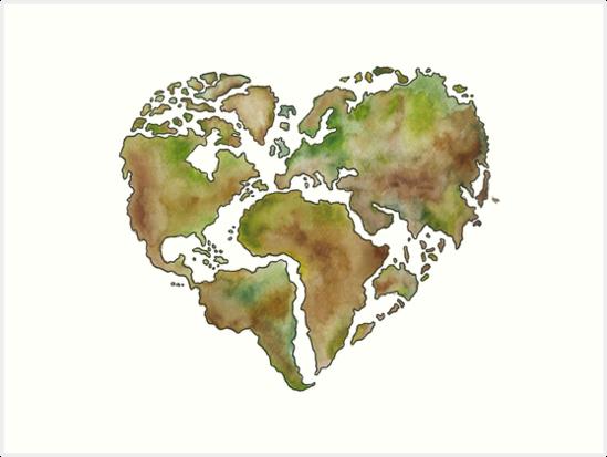 Maailmankartta world map heart shape art prints by kerttu maailmankartta world map heart shape by kerttu asmundela gumiabroncs Gallery