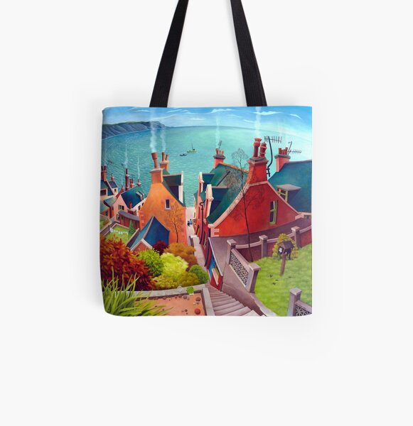 Sea houses. Gardenstown. All Over Print Tote Bag