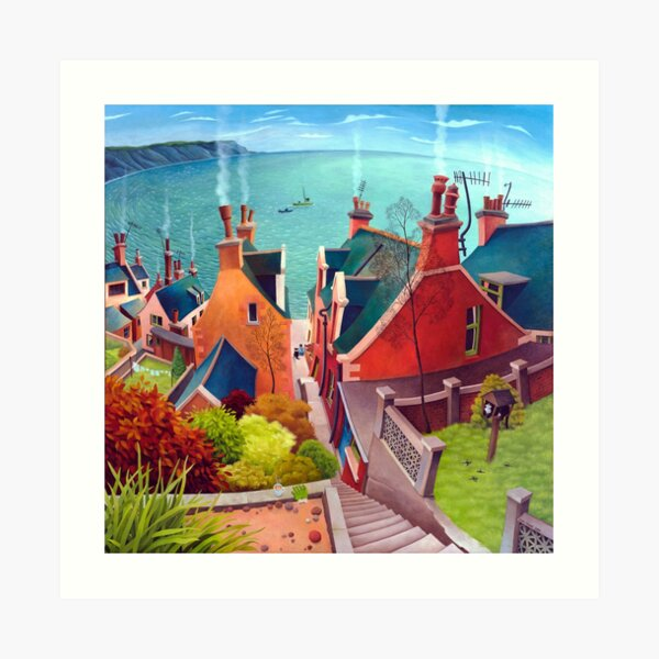 Sea houses. Gardenstown. Art Print