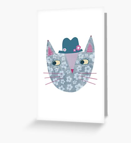 Flowery Cat in a Flowery Hat Greeting Card