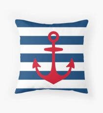 Red Anchor on Navy Blue Stripes Throw Pillow