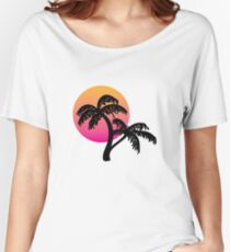 Outrun Palm Tree Sunset Relaxed Fit T-Shirt