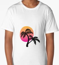 Outrun Palm Tree Sunset Long T-Shirt