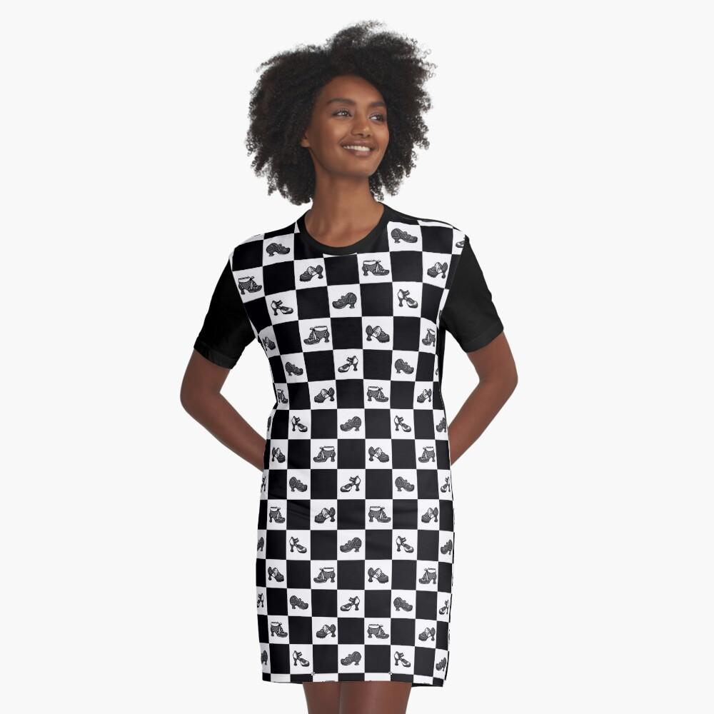 Fluevog BW Checker Pattern Graphic T-Shirt Dress