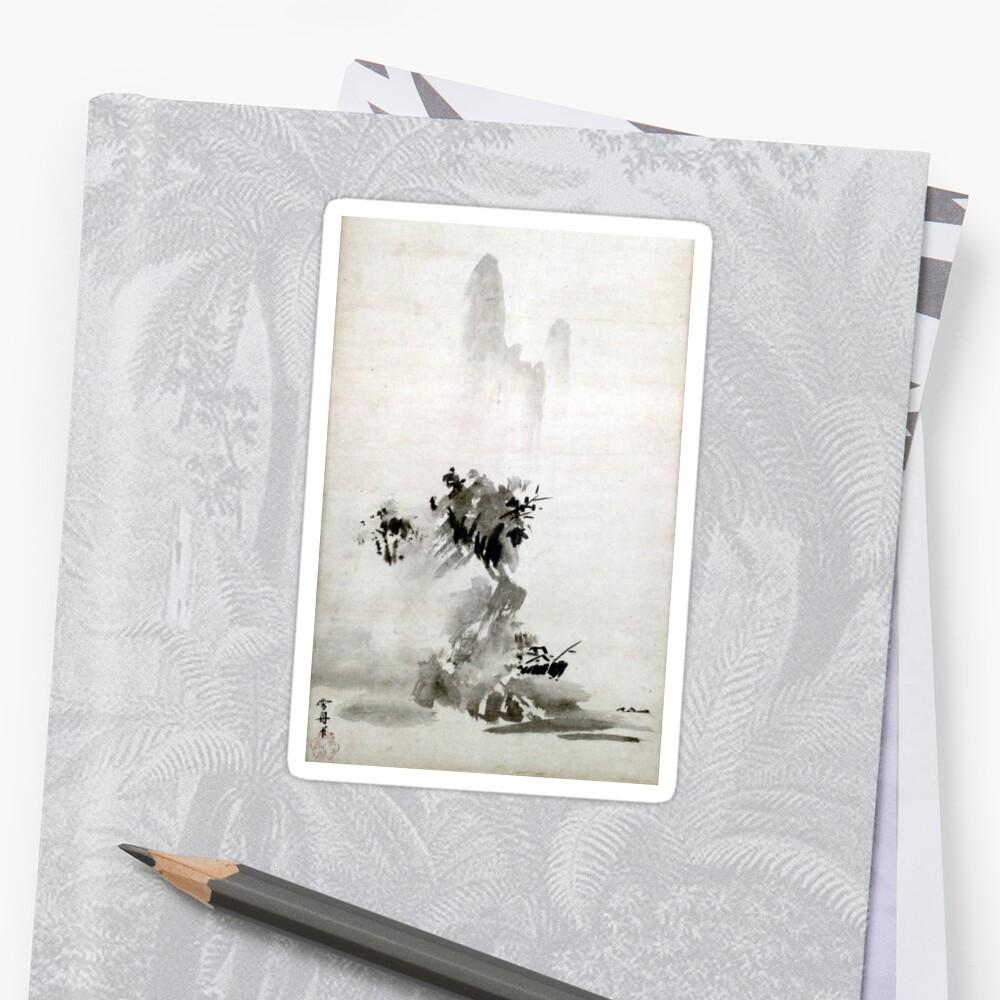 Paisaje de Sesshu Toyo Haboku-Sansui Pegatina