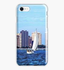 Chicago IL - Two Sailboats Against Chicago Skyline iPhone Case/Skin