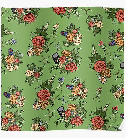 STEM floral pattern Poster
