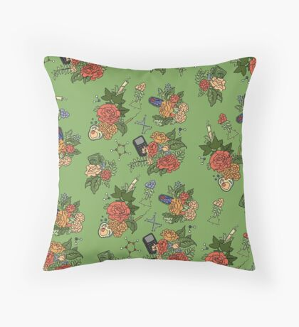 STEM floral pattern Throw Pillow