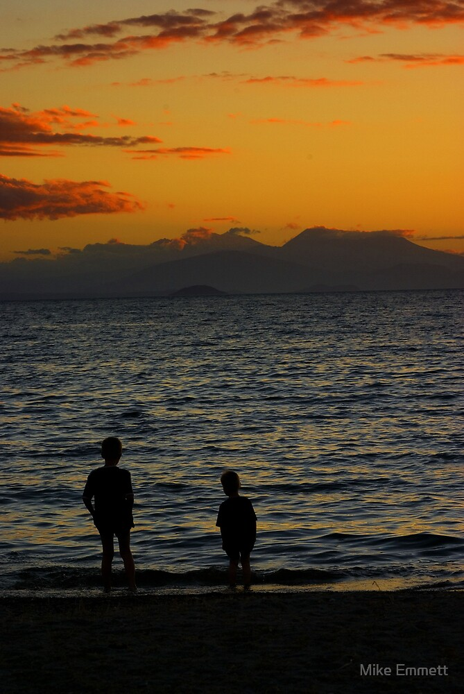 Boys in a Taupo Sunset by Mike Emmett