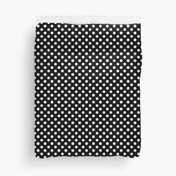 Black With Large White Polka Dots Duvet Cover