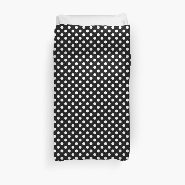 Black With Large White Polka Dots Duvet Cover