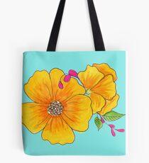 Yellow Poppy Flowers Tote Bag